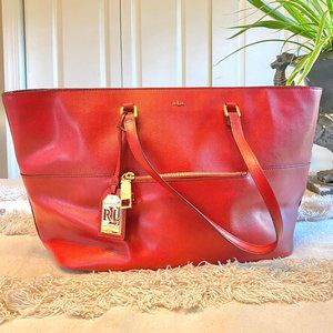 Ralph Lauren Red Leather Tote/Laptop Bag